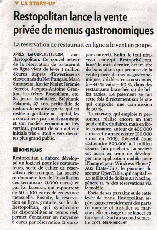 Article La Tribune sur Restopolitan